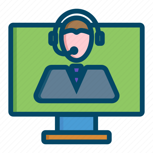 helpdesk, operator, support, video icon