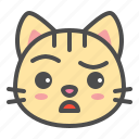 cat, cute, doubt, face, kitten, pet icon