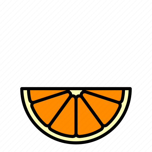 food, fruit, healthy, horizontal, orange slice icon