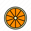 food, fruit, healthy, horizontal, orange slice icon