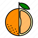 food, fruit, healthy, orange, orange slice, section icon