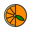 food, fruit, healthy, leaf, orange slice icon