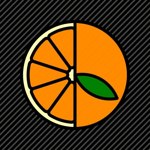 food, fruit, healthy, leaf, orange slice icon