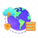 data, global, network, protection, security, server, transfer icon