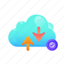 check, cloud, communication, data, internet, network, security icon
