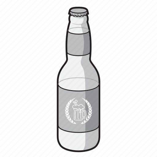 alcohol, beer, beer bottle, black and white, bottle, drink icon