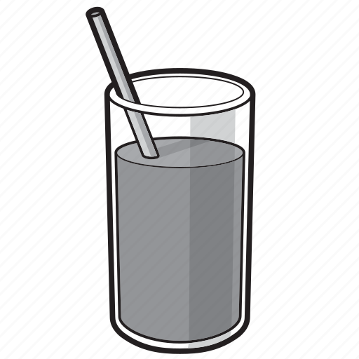 black and white, drink, fruit juice, glass, juice, straw icon
