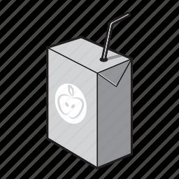 black and white, drink, juice, juice box, kids drink icon