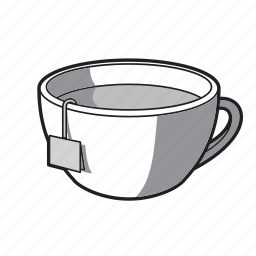 black and white, cup, drink, tea, tea cup icon