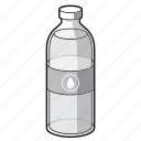 black and white, bottle, drink, soda, soda bottle, water, water bottle icon