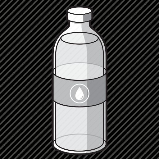 black and white, bottle, drink, soda, soda bottle, water, water bottle icon