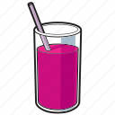 drink, fruit juice, glass, juice, straw icon