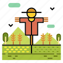 agriculture, cultivated, farm, farmer, field, harvest, scarecrow icon