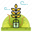 cultivated, gardening, lock, plant, protect, safety, safety cultivated icon