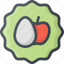 apple, badge, egg, sticker, vegetarian icon