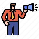 marketing, megaphone, businessman, advertisement, advertise