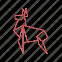 animal, deer, jungle, origami, paper, paper folding, reindeer icon