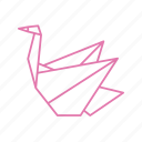 bird, idle, origami, paper, paper folding, swan icon