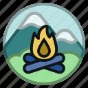 adventure, bonfire, camp, camping, fire, firewood