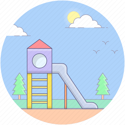 amusement park, fun, kids park, playground, playground equipment, playground slide, sliding board icon
