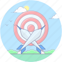 aim, archery, archery arrow, bullseye, dartboard, goal, target icon