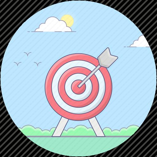 aim, archery, archery arrow, bullseye, dartboard, goal, target icon