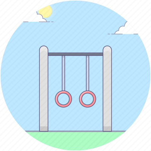 amusement park, fun, gymnastic rings, hanging swing, kids park, playground, playground equipment icon