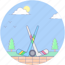 golf, golf game, golf hit, golf stick, golf tee icon