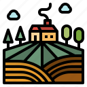 farm, farming, field, hills, rural icon