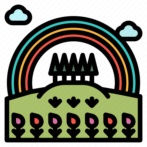 Field, landscape, nature, rainbow, tree icon - Download on Iconfinder