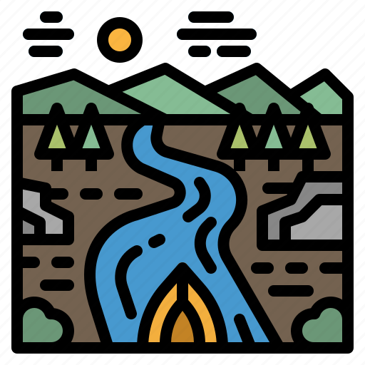 Boat, lake, nature, river, trees icon - Download on Iconfinder