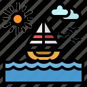 beach, landscape, nature, sailboat, sea icon