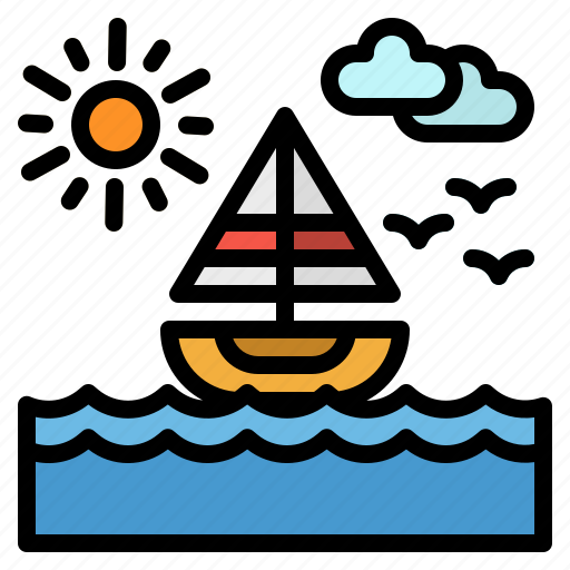 Beach, landscape, nature, sailboat, sea icon - Download on Iconfinder