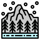 forest, mountain, snow, tree, winter icon