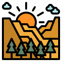 mountain, nature, sun, sunlight, sunrise icon