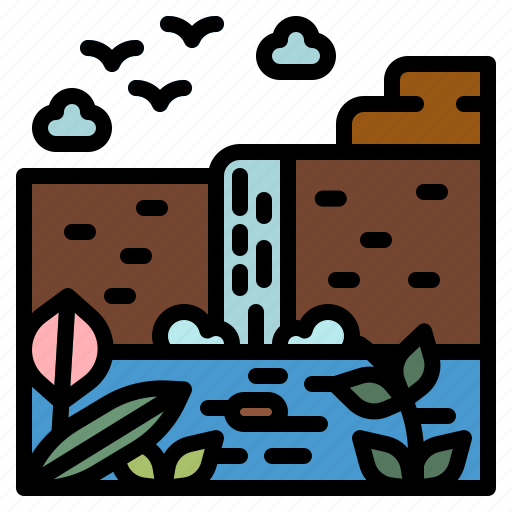 Landscape, nature, river, water, waterfall icon - Download on Iconfinder