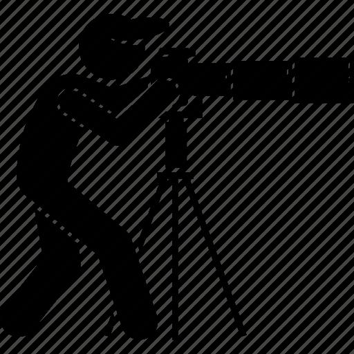 far, photographer, photography, shooting, telephoto, tripod icon