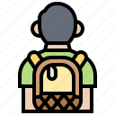 backpack, bag, tourist, traveling, trip icon