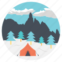camping, camping near forest, camping outdoors, outdoor activity, traveling outdoor icon