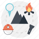 camping, mountain hiking, outdoor activities, traveling outdoor, wood fire icon