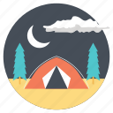 camping at night, camping in forest, overnight in forest, summer adventures, traveling outdoors icon