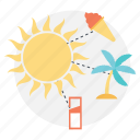 hot summer journey, planning summer vacation, summer vacation, sunny summer icon