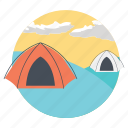 camping, camping outside, living outdoors, outdoor activity, outdoor travelling icon
