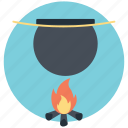 camp food, cooking outdoor, cooking pot, flame, wood fire icon