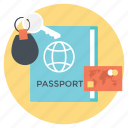 passport, travel accommodations, travel around world, traveling destination, traveling medium icon