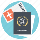 international travel, passport, travel plans, traveling destination, traveling documents icon