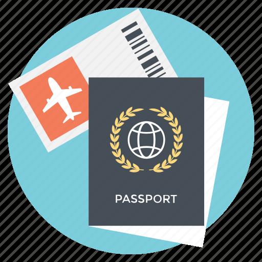 International travel, passport, travel plans, traveling destination, traveling documents icon