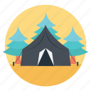 camping, camping in forest, camping outdoors, outdoor activities, wood fire icon