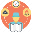 camping trip, journey, planning for camping, planning trip, travel planning icon