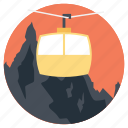 extreme activity, lift chair, mountain holiday, mountain ride, ride through mountains icon